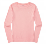 コットンブレンド・クルーネック・長袖Tシャツ[ピンク](ガールズS〜XL)【ラルフローレン】