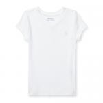 コットンブレンド・Vネック・半袖Tシャツ[ホワイト](女の子2〜7歳用)【ラルフローレン】