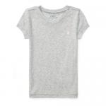 コットンブレンド・Vネック・半袖Tシャツ[グレー](女の子2〜7歳用)