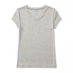 コットンブレンド・Vネック・半袖Tシャツ [グレー](ガールズS〜XL)