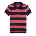 ストライプ・コットンメッシュ・半袖ポロシャツ[オレンジ](男の子2〜7歳用)【ラルフローレン】