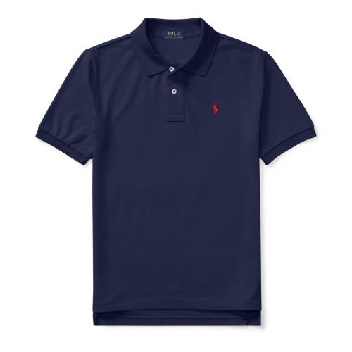 コットンメッシュ・半袖ポロシャツ[ネイビー&レッド](ボーイズS〜XL)【ラルフローレン】
