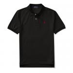 コットンメッシュ・半袖ポロシャツ[ブラック&レッド](ボーイズS〜XL)【ラルフローレン】