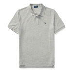 コットンメッシュ・半袖ポロシャツ[グレー&ネイビー](ボーイズS〜XL)【ラルフローレン】