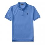 コットンメッシュ・半袖ポロシャツ[ブルー&ネイビー](ボーイズS〜XL)【ラルフローレン】