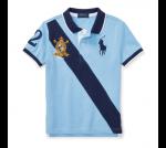 ビッグポニー・バナーストライプ・半袖ポロシャツ[ブルー](男の子2〜7歳用)【ラルフローレン】