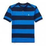 ストライプ・ヘンリーネック・半袖Tシャツ[ブルーマルチ](ボーイズS〜XL)【ラルフローレン】