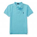 カスタムフィット・コットン・半袖ポロシャツ[ターコイズ](ボーイズS〜XL)【ラルフローレン】