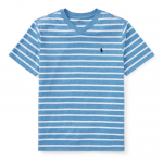 ストライプ・Vネック・半袖Tシャツ[ブルー](ボーイズS〜XL)【ラルフローレン】