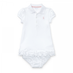 ラッフルド・ポロ・半袖ドレス[ホワイト](女の子0〜9か月用)【ラルフローレン】