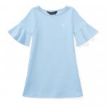 ポンテ・アイレット・半袖ドレス[ブルー](女の子2〜7歳用)