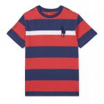 ビッグポニー・ストライプ・コットン半袖Tシャツ[レッドマルチ](ボーイズS〜XL)【ラルフローレン】