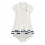 ストライプ・メッシュ半袖ドレス[ホワイト](女の子0〜9か月用)【ラルフローレン】