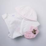 【ラッピング・送料無料】ラビット・ベビー4ピース・ギフトセット[ホワイト](女の子6〜9か月用)