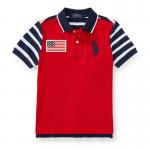 ビッグポニー・フラッグ・コットン半袖ポロシャツ[レッドマルチ](男の子2〜7歳用)【ラルフローレン】