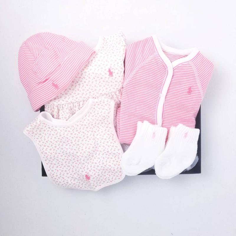 【ラッピング・送料無料】ボーダー&フローラル・5ピースギフトセット[ピンク](女の子6〜9か月用)