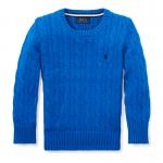 ケーブルニット・コットン・セーター[ブルー](男の子2〜7歳用)【ラルフローレン】