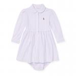 ストライプ・メッシュオクスフォード・長袖ドレス[ピンクマルチ](女の子0〜9か月用)【ラルフローレン】