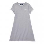 エンブロイダード・フレンチテリー・半袖ドレス[グレー](ガールズS〜XL)【ラルフローレン】