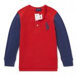 ビッグポニー・コットン・ヘンリーネック長袖Tシャツ[レッド](男の子2〜7歳用)【ラルフローレン】