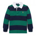 ストライプ・コットン・長袖ラグビーシャツ[グリーン](男の子2〜7歳用)【ラルフローレン】