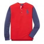 ビッグポニー・コットン・ヘンリーネック長袖Tシャツ[レッド](ボーイズS〜XL)【ラルフローレン】