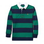ストライプ・コットン・長袖ラグビーシャツ[グリーン](ボーイズS〜XL)【ラルフローレン】