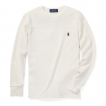 ワッフルニット・クルーネック・長袖Tシャツ[クリーム](ボーイズS〜XL)【ラルフローレン】