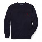 ワッフルニット・クルーネック・長袖Tシャツ[4色展開](ボーイズS〜XL)