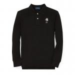 スキーベア・コットンメッシュ・長袖ポロシャツ[ブラック](ボーイズS〜XL)