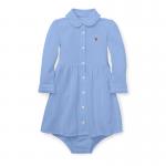 ニット・オクスフォード・長袖ドレス[ブルー](女の子12〜24か月用)