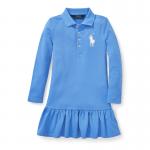 ビッグポニー・ストレッチメッシュ・長袖ポロドレス[ブルー](女の子2〜7歳用)