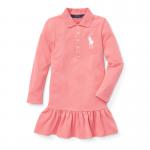 ビッグポニー・ストレッチメッシュ・長袖ポロドレス[ピンク](女の子2〜7歳用)