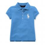 ビッグポニー・ストレッチメッシュ・半袖ポロシャツ[ブルー](女の子2〜7歳用)