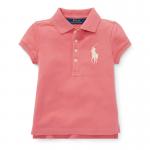 ビッグポニー・ストレッチメッシュ・半袖ポロシャツ[ピンク](女の子2〜7歳用)