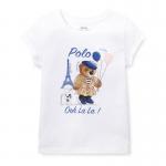 ポロベアー・ジャージー・半袖Tシャツ[ホワイト](女の子2〜7歳用)