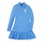 ビッグポニー・ストレッチメッシュ・長袖ポロドレス[ブルー](ガールズS〜XL)