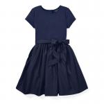 ニットウーベン・フレア・半袖ドレス[ネイビー](ガールズS〜XL)