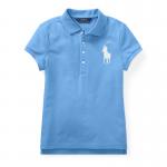 ビッグポニー・ストレッチメッシュ・半袖ポロシャツ[ブルー](ガールズS〜XL)