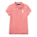 ビッグポニー・ストレッチメッシュ・半袖ポロシャツ[ピンク](ガールズS〜XL)