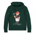 ポロベアー・フード付き・長袖Tシャツ[グリーン](ボーイズS〜XL)