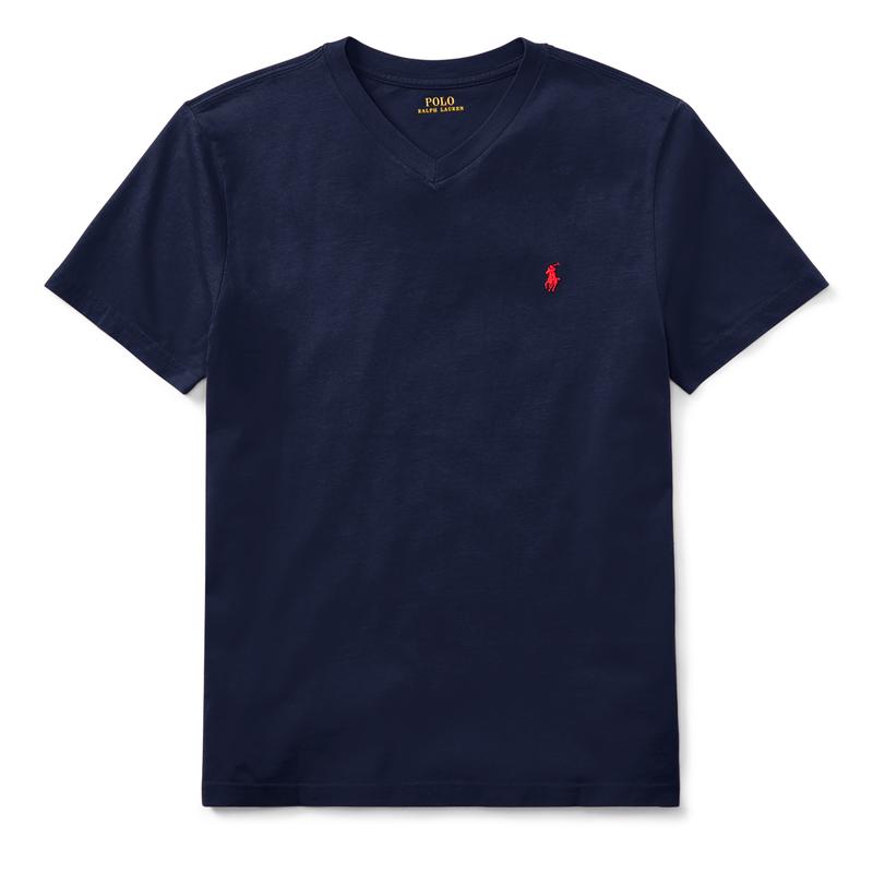コットン・Vネック・半袖Tシャツ[5色展開](ボーイズS〜XL)