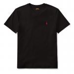 コットン・Vネック・半袖Tシャツ[ブラック](ボーイズS〜XL)