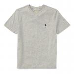 コットン・Vネック・半袖Tシャツ[グレー](ボーイズS〜XL)
