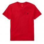 コットン・Vネック・半袖Tシャツ[レッド](ボーイズS〜XL)