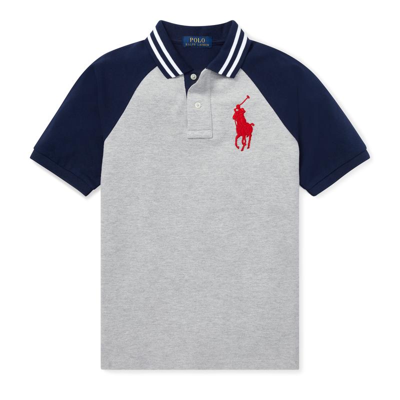 ff167195ecef2 水9 ビッグポニー・ラグラン・半袖ポロシャツ グレーマルチ (ボーイズS ...(3