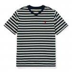 ストライプ・コットンブレンド・半袖Tシャツ[3色展開](ボーイズS〜XL)