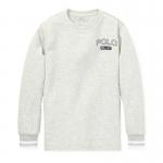 ダブルニット・グラフィック・長袖Tシャツ[グレー](ボーイズS〜XL)