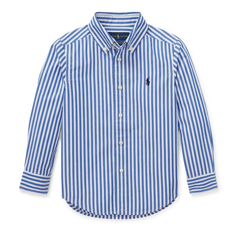 ベンガルストライプ・コットン・長袖シャツ[2色展開](男の子2〜7歳用)