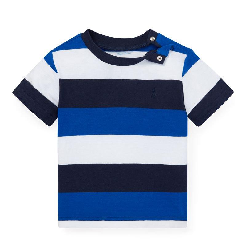 ストライプ・コットン・半袖Tシャツ[ブルーマルチ](男の子12〜24か月用)